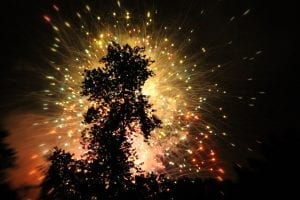 Fireworks at Night over Lake Winnepesaukah