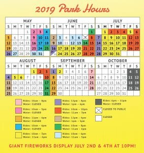 2019 Lake Winnie Schedule and Hours of Operation