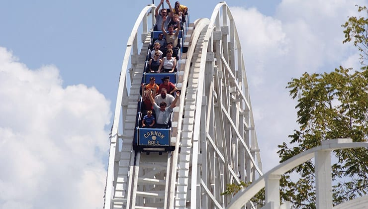 Cannonball Roller Coaster at Amusement Park in Georgia