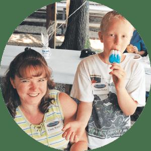 Mom and Son Having Fun at Lake Winnie