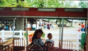 Mother and Baby Riding Train at Lake Winnie